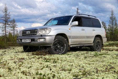 Novyy Urengoy, Rusia - 22 de mayo de 2020: Coche todoterreno gris Toyota Land Cruiser 100 en la tundra norte.