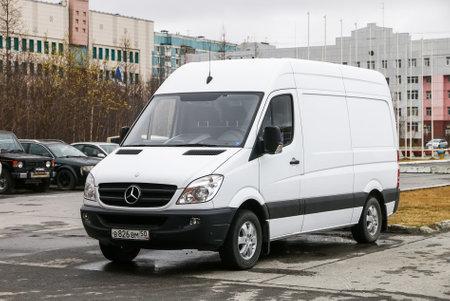 Novyy Urengoy, Russia - May 16, 2020: White cargo van Mercedes-Benz Sprinter (W906) in the city street. Editoriali
