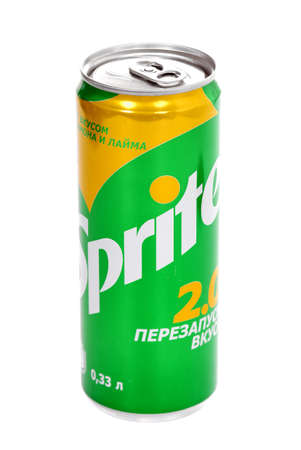 Novyy Urengoy, Russia - October 3, 2020: Aluminium can of the Sprite 2.0 Lemon and Lime isolated over white background. 에디토리얼