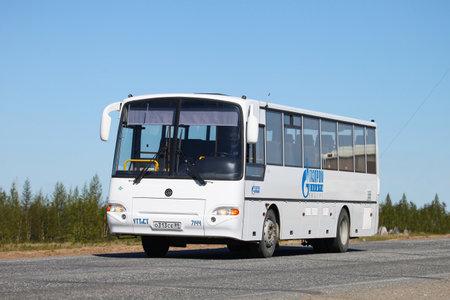 Novyy Urengoy, Russia - June 4, 2020: White interurban coach bus Kavz 4238 Avrora at the interurban road. Éditoriale