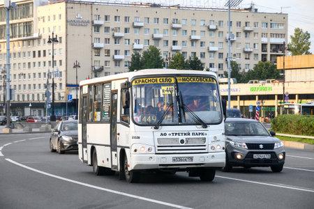 Saint Petersburg, Russia - August 15, 2020: White urban bus PAZ 3204 in the city street. Editorial