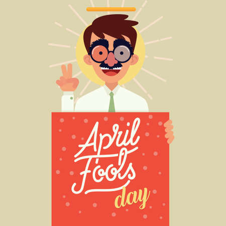 April fools day vector illustration.
