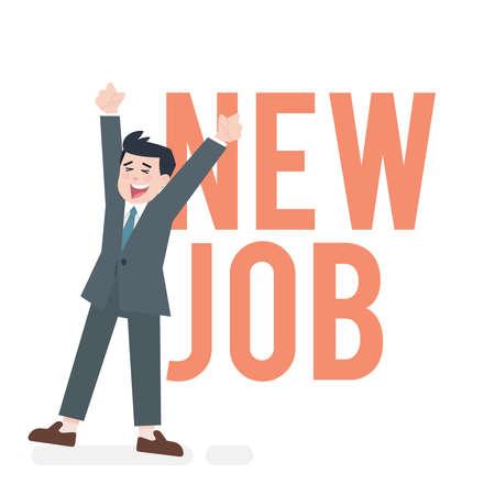 ilustración vectorial trabajador conseguir nuevo trabajo