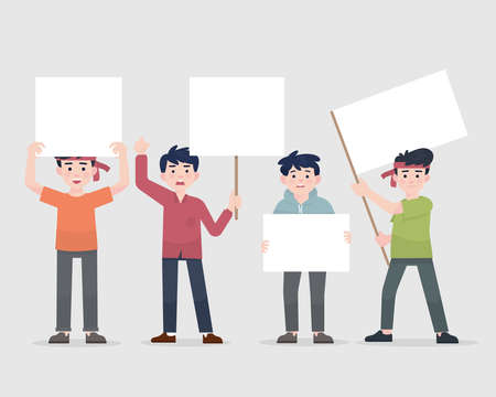 illustration mens protest holding blank sign