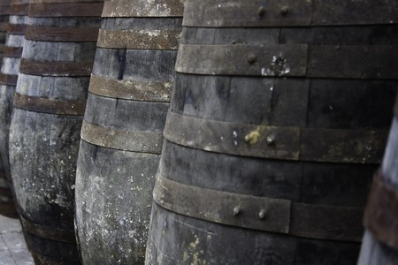 macerated: Old wine barrels stored in rows