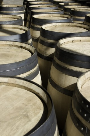 macerated: New wine new barrels stored in rows