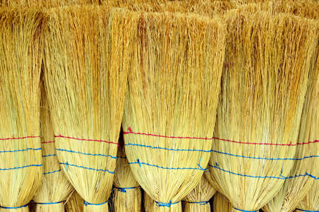 brushwood: The image of a large number of handmade brooms Stock Photo