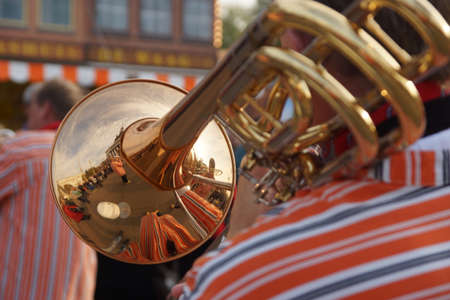 Dutch jazz band plays melodies on the territory of exhibition centre  in Moscow during the festival Golden autumn 11 10 2013 photo