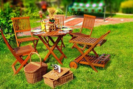 Outdoor Dining Scene in Backyard  Tilt-shift effect