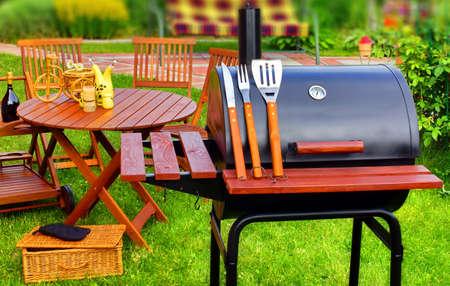 cooking utensils: BBQ Summer Garden Party Scene