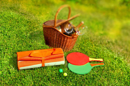 Picnic basket,  blanket,  racquetball in the grass.  photo