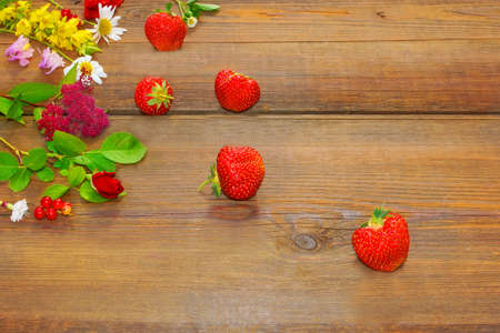 arrangment: Flowers and Berries on Grunge Wood Table  Abstract Summer  Arrangment Background