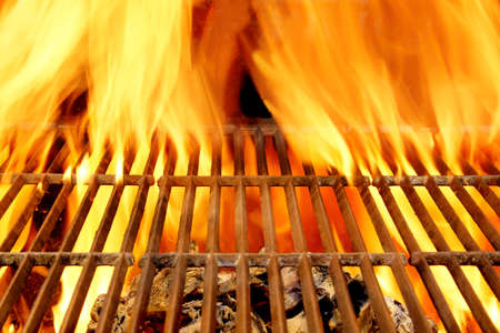 Hot BBQ Grill and Glowin Coals. Background and Texture with space for text or image. Stock Photo