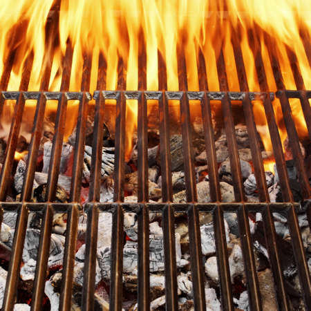 Barbecue Grill, Hot coal and Burning Flames  Background with space for text or image  photo