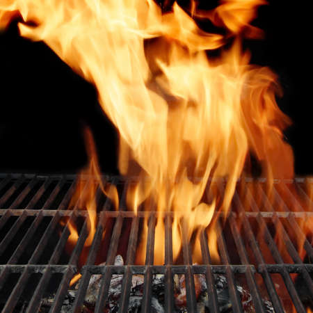 briquettes: Empty BBQ Grill and Burning Charcoal, with space for text or image