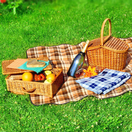 Summer Vacation Picnic Scene with copy space