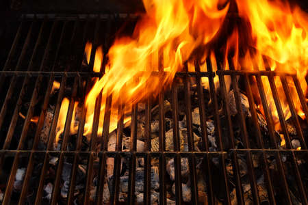 bbq: Flaming BBQ Grill close-up  Background  with space for text or image  Stock Photo
