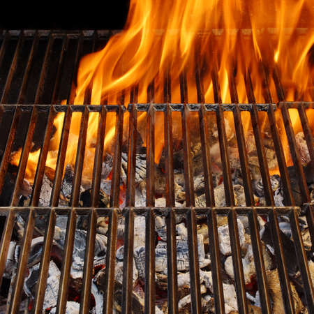 Empty Flaming BBQ Grill  Background with space for text or image  photo