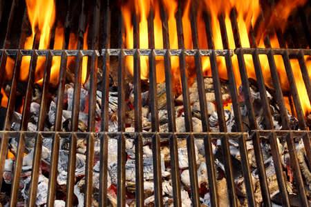 charcoal grill: Flaming BBQ Grill close-up  Background  with space for text or image  Stock Photo