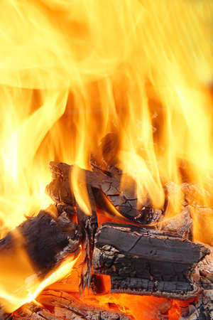 ember: Burning Flames and Glowing Coal in BBQ Ash Stock Photo