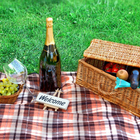 Picnic setting with Champagne wine, glasses, grape and picnic hamper basket. Small board with sign WELCOME photo