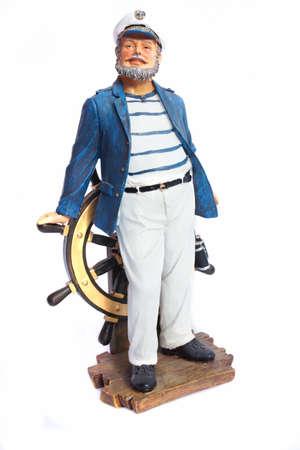 capitan de barco: Escultura capit�n de barco aislado en blanco