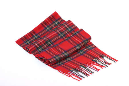 checkered scarf: Warm and soft red Tartan Scarves isolated on white background.