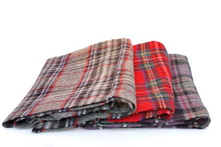 scarves: Tartan scarves with fringe. Different styles of color plaid scarves isolated on white background.