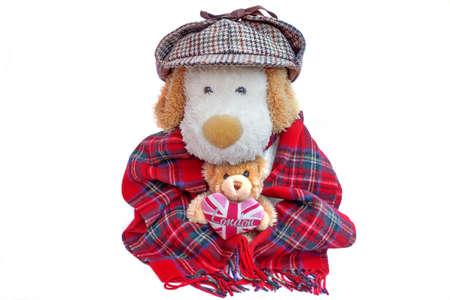 englishman: Old Dog Englishman in deerstalker hat and teddy bear with London Love Heart