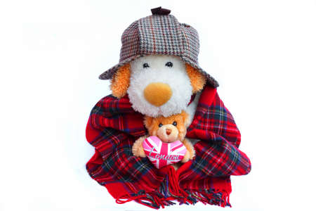 Old Dog Englishman in deerstalker hat and teddy bear with London Love Heart photo