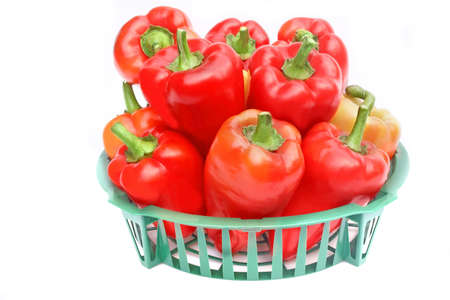 bell peppers: Bell Peppers in the Basket isolated on white background