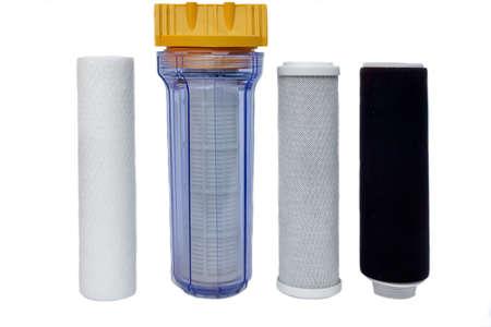 filtración: Filtros para Agua Potable Purificación aislados sobre fondo blanco Foto de archivo