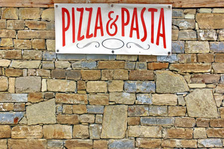 banner ads: Italian Food Sign on Old Stone Wall Background