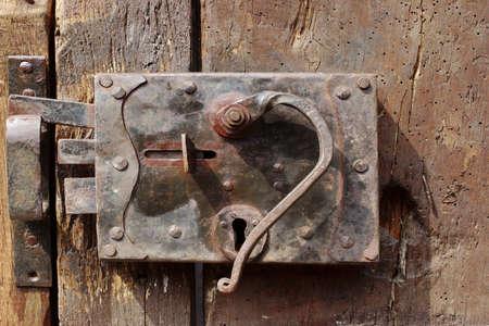 Old Door with Mortise Lock and doorknob photo
