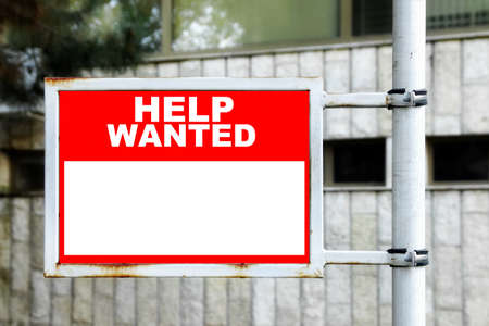 helpmate: Red White Help Wanted Signage
