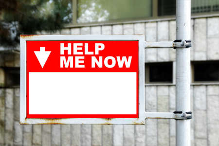 helpmate: Red White Help Me Now Sign Stock Photo