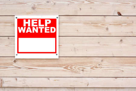 HELP WANTED Red White Sign on Timber Wall Background
