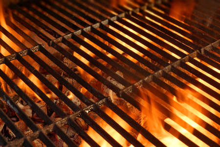 hot grill: BBQ Grill with Glowing Coals and Bright Flames