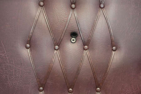leatherette: Brown Leather Door with Gold Peephole. Background and texture with space for text or image.