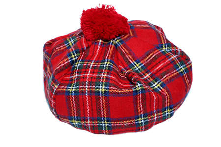 bonnet: Traditional Scottish Red Tartan Bonnet, also named Tam o Shanter. Men headgear Isolated on white Background.