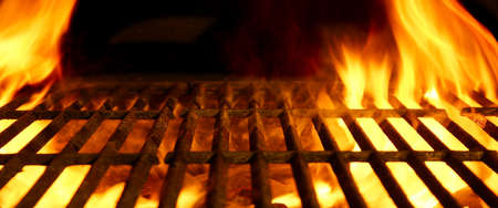 meat on grill: BBQ or Barbecue or Barbeque or Bar-B-Q Charcoal Fire Iron Empty Grill with Flames Isolated on Black Background