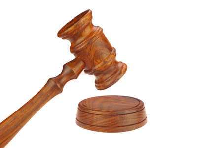 Judges or Presiding Officer or Auctioneers Hardwood Gavel and Sound Board Isolated on White Background photo