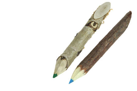 Two Color Big Pencil Made From Natural Wood Twig Isolated on white Background. photo