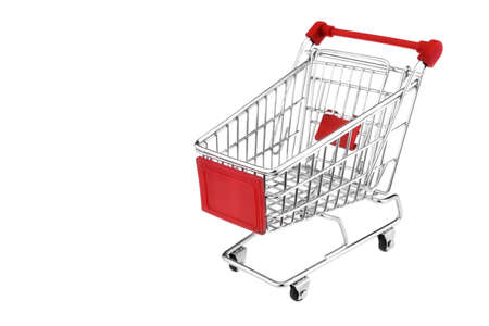 A Shopping Cart With Red Display Isolated On White Background photo