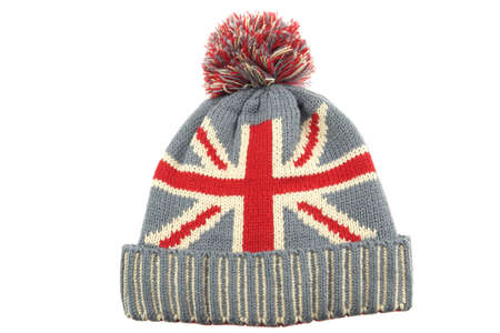 worm gear: Single Winter Knitted Wool Ski Hat With Union Jack Flag Isolated On White Background Close-Up