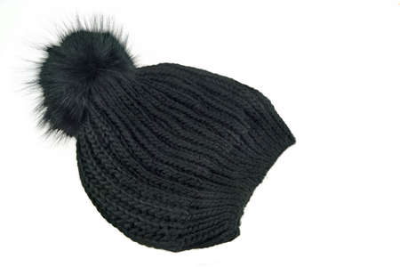 worm gear: Black Knitted Wool Winter Ski Hat with Pom Pom Isolated On White Background