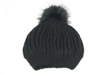 Black Knitted Wool Winter Ski Hat with Pom Pom Isolated On White Background