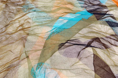 Abstract Multicolored Soft Chiffon Wavy Fabric Texture Background photo