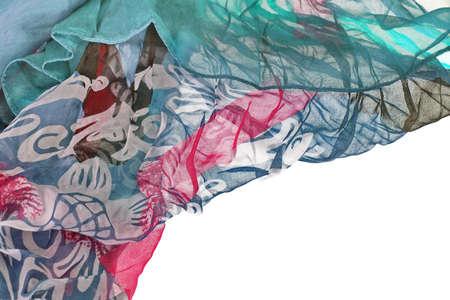 Chiffon Wavy Textured Colorful Border Isolated On White Background photo