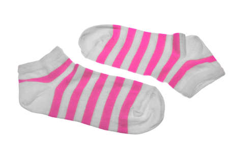 girlish: Pair Pink And White Striped Ladies or Girlish Socks Isolated On White Background